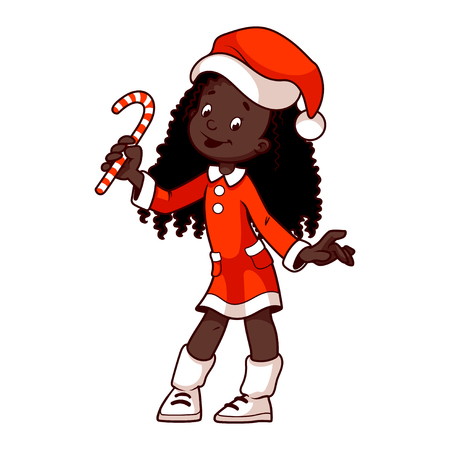 elves: African American girl in a Christmas fancy dress with candy in hand. clip-art illustration on a white background. Cartoon character. Illustration