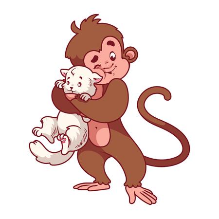 mono caricatura: Mono que abraza el gato blanco. S�mbolo de 2016 - un mono. Personaje de dibujos animados sobre un fondo blanco.