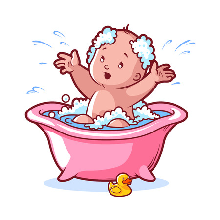 infant bathing: Baby bathing in pink bath with foam and rubber duck. Cartoon character on white background.