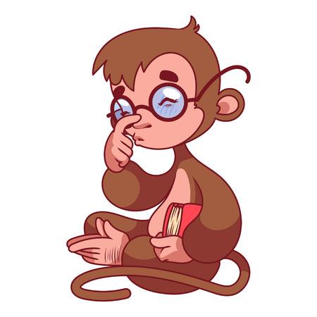 mono caricatura: Mono en vidrios con el libro en la mano. S�mbolo de 2016 - un mono. Personaje de dibujos animados sobre un fondo blanco.