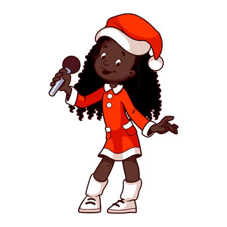carol singer: African American girl in Christmas dress singing with microphone. clip-art illustration on a white background. Cartoon character.