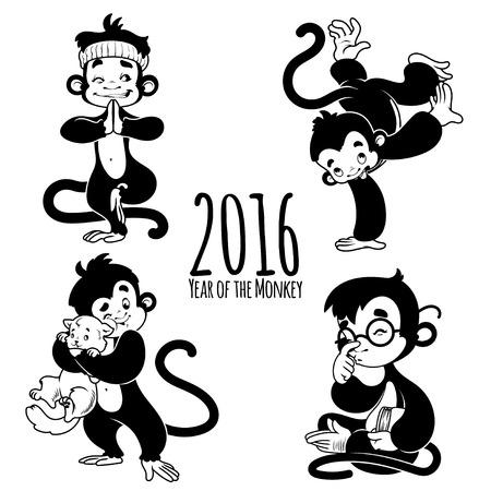 cartoon monkey: Set of outline monkeys. Symbol of 2016 - a monkey. Cartoon character on a white background. Illustration