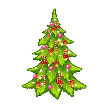 飾られたクリスマス ツリー。白い背景の上のクリップ アート イラスト。  イラスト・ベクター素材
