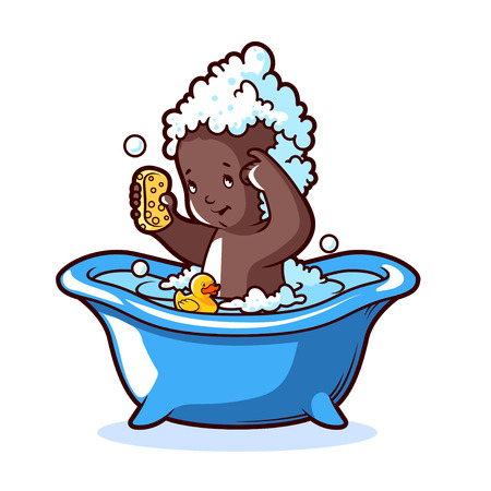 rubber duck: Baby bathing in blue bath with foam and rubber duck. Cartoon character on white background. Illustration