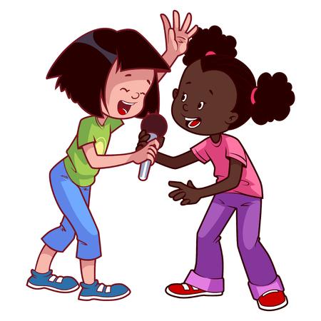 마이크와 노래하는 소녀. 흰색 배경에 클립 아트 그림입니다. 만화 캐릭터.