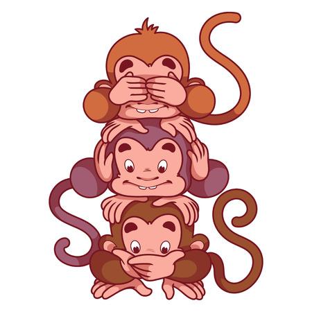 mono caricatura: Tres monos sabios. S�mbolo de 2016 - un mono. Personaje de dibujos animados sobre un fondo blanco.