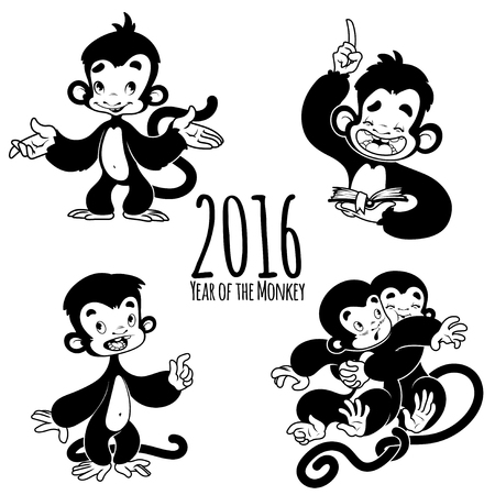 cartoon reading: Set of outline monkeys. Symbol of 2016 - a monkey. Cartoon character on a white background. Illustration