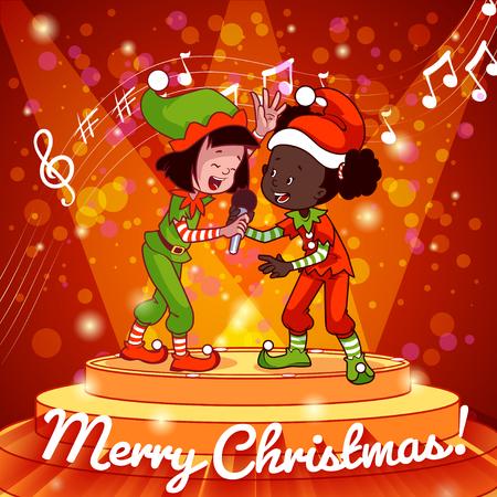 ni�o cantando: Chica en el canto vestido de Navidad con el micr�fono. Tarjeta de Navidad. Personaje animado.