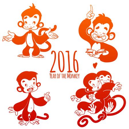 mono caricatura: Conjunto de monos de contorno. S�mbolo de 2016 - un mono. Personaje de dibujos animados sobre un fondo blanco.