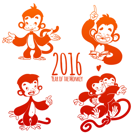 monkey cartoon: Set of outline monkeys. Symbol of 2016 - a monkey. Cartoon character on a white background. Illustration