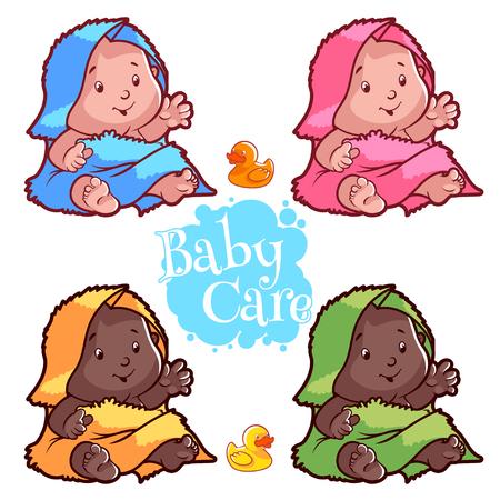 Baby gewikkeld in badhanddoek en rubber duck. Cartoon vector teken op een witte achtergrond.