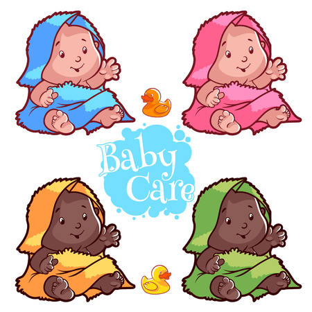 black american: Baby wrapped in bath towel and rubber duck. Cartoon vector character on white background. Illustration