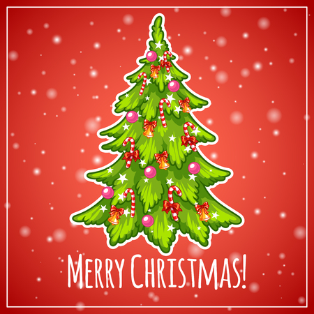 christmas tree: Decorated Christmas tree. Vector clip-art illustration on a red background. Illustration