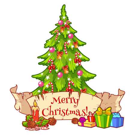 christmas candle: Decorated Christmas tree with gift boxes, candle and scroll. Vector clip-art illustration on a white background.