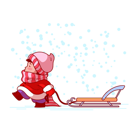 winter holiday: Kid walking with a sled. Winter holiday. Cute cartoon character. Vector clip-art illustration on a white background. Illustration