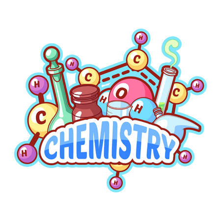 organic chemistry: Chemistry title with chemical elements and flasks on a white background for poster design. Vector clipart illustration