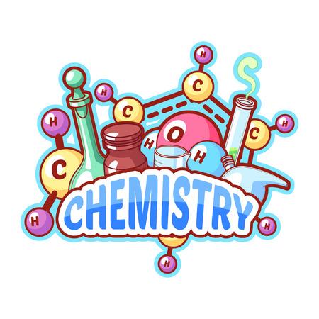 quimica organica: Título de la química con los elementos químicos y frascos en un fondo blanco para el diseño del cartel. Vector ilustración de imágenes prediseñadas