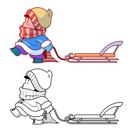 Kid walking with a sled. Winter holiday. Cute cartoon character. Vector clip-art illustration on a white background.  イラスト・ベクター素材