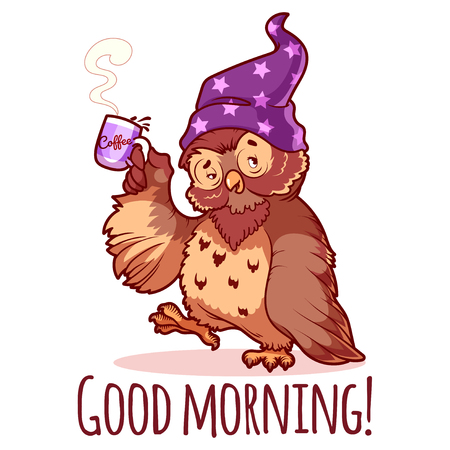 funny: Woken owl in the nightcap with a cup of coffee. Cartoon vector character on a white background.