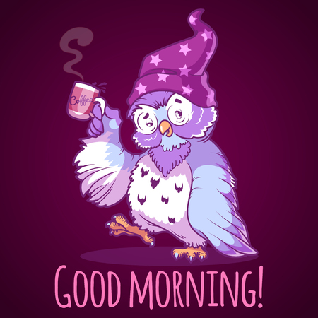 night owl: Woken owl in the nightcap with a cup of coffee. Cartoon vector character on a dark background.