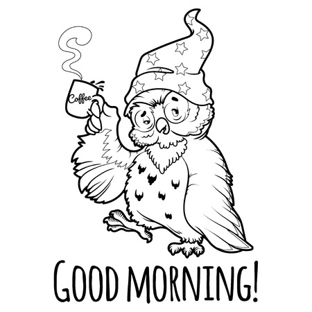 owl eyes: Woken owl in the nightcap with a cup of coffee. Cartoon vector character on a white background.