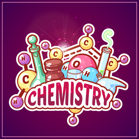 Chemistry title with chemical elements and flasks on a dark background for poster design. Vector clipart illustration