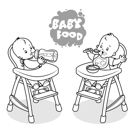 lunch: Two kids in baby highchair. Vector clip-art illustration on a white background.