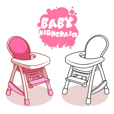 illustration line art: Baby Highchair isolated on white background. Vector clip-art illustration.