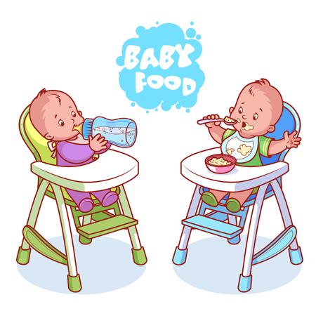 porridge: Two kids in baby highchair. Vector clip-art illustration on a white background.