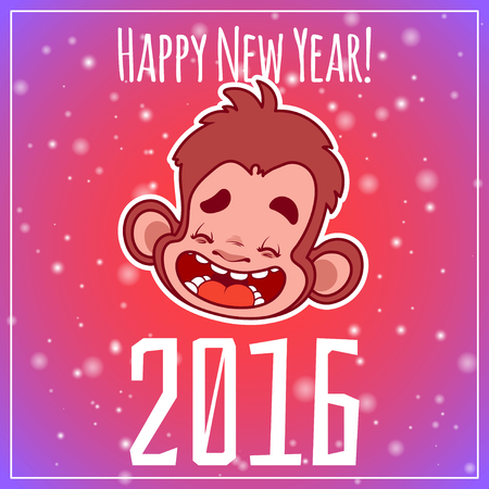 monkey face: Card with monkey face. Symbol of 2016 - a monkey. Vector New Year card.