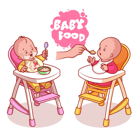 Two kids in baby highchair with plate of porridge. Vector clip-art illustration on a white background.
