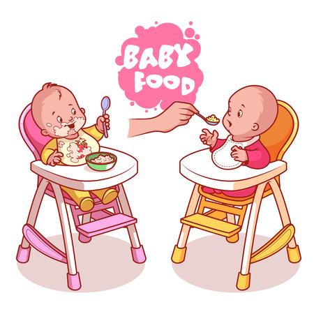 Zwei Kinder, die in Kinderhochstuhl mit Teller mit Brei. Vektor Clip-Art-Illustration auf einem weißen Hintergrund. Vektorgrafik