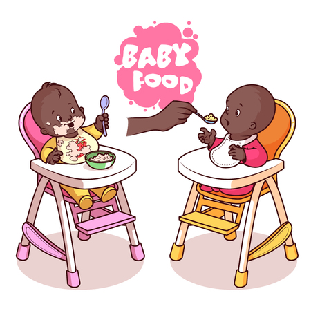 highchair: Two kids in baby highchair with plate of porridge. Vector clip-art illustration on a white background.