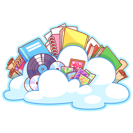 contents: Cloud with the contents. Vector clip-art illustration on a white background.