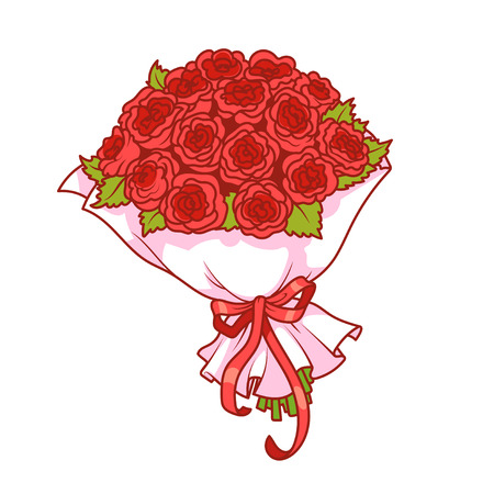 bouquet fleur: Bouquet de roses rouges isolé sur fond blanc. Vector clip-art illustration.