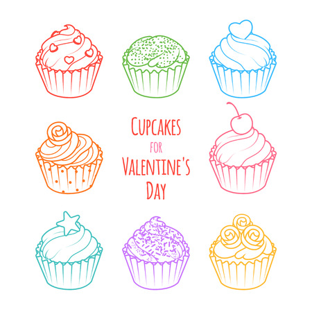 Cupcakes for Valentines Day. Vector clip-art illustration on a white background.