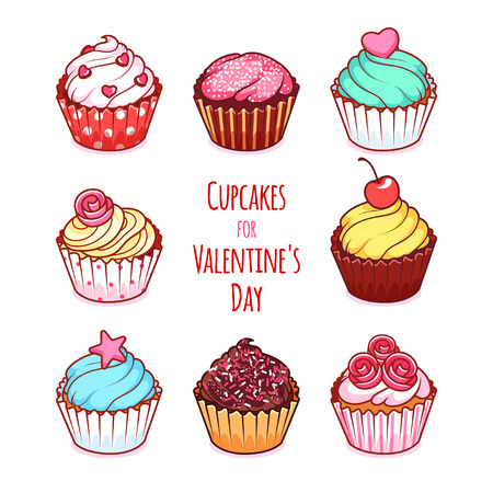 chocolate cupcake: Cupcakes for Valentines Day. Vector clip-art illustration on a white background.