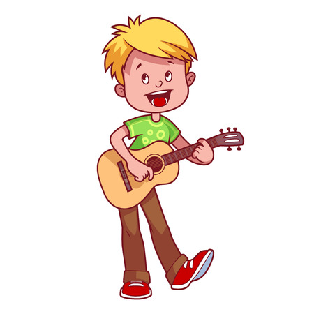 Cartoon boy with a guitar in his hands. Vector clip art illustration on a white background.