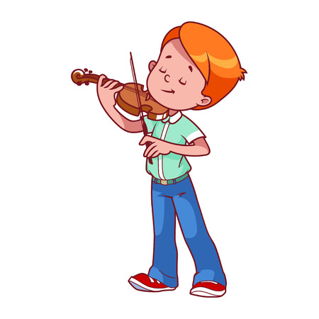 漫画少年がバイオリンを弾きます。白の背景にベクトル クリップ アート イラスト。