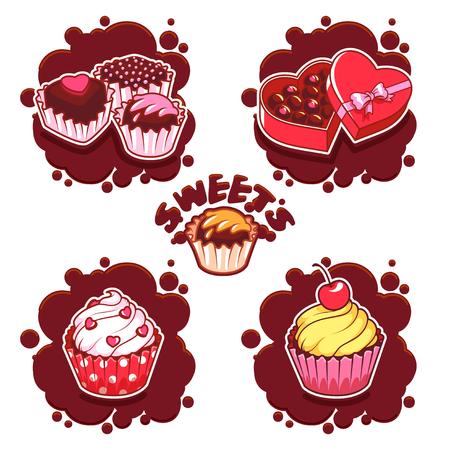 confectioner: Set of sweet chocolate emblems. Vector clip-art illustration on a white background. Illustration