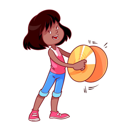 cymbals: Cheerful girl playing on the cymbals. Vector clip art illustration on a white background.