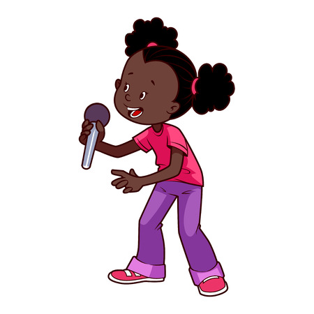 Cartoon African American girl singing with a microphone. Vector clip art illustration on a white background.