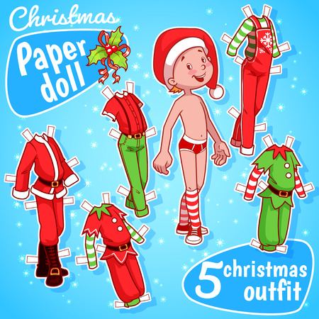 doll: Very cute paper doll with five christmas outfits. Christmas boy, various costumes elf and  Santas outfit