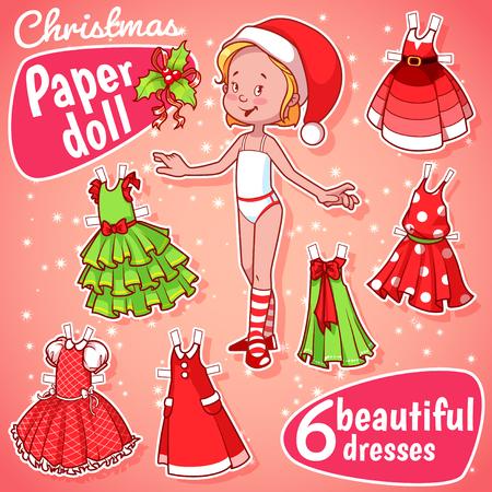 여섯 아름다운 크리스마스 드레스와 아주 귀여운 종이 인형입니다. 금발 소녀. 일러스트