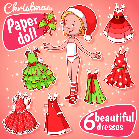 Very cute paper doll with six beautiful christmas dresses. Blonde girl. Stock Illustratie