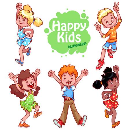 activity cartoon: Very happy children on a white background.