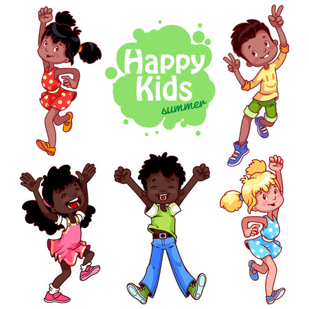cartoon kid: Very happy children on a white background.