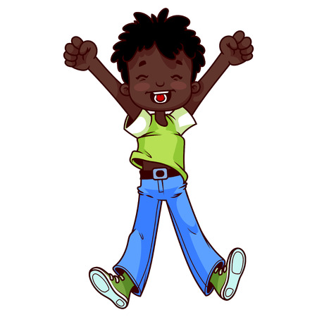 african american: Very happy African American boy on a white background.