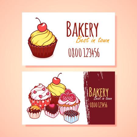 Twee horizontale adreskaartjesjabloon voor Patisserie. clip art illustratie Vector Illustratie