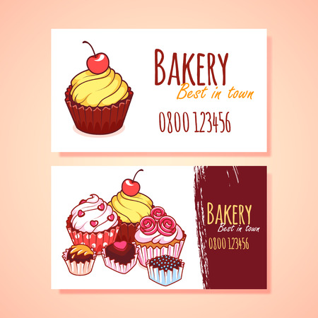 Two horizontal business card template for Pastry shop. clip art illustration